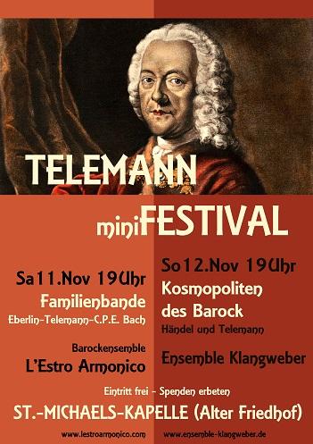 """Plakat Telemann Minifestival: """"Familienbande"""" und """"Kosmopoliten des Barocks"""""""